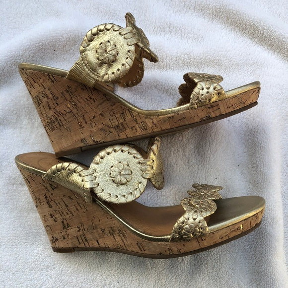 b77efae70fbe Jack Rogers Shoes - Jack Rogers Luccia Wedge Sandals Gold 6M